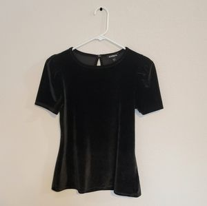 Express short sleeve black velvet top
